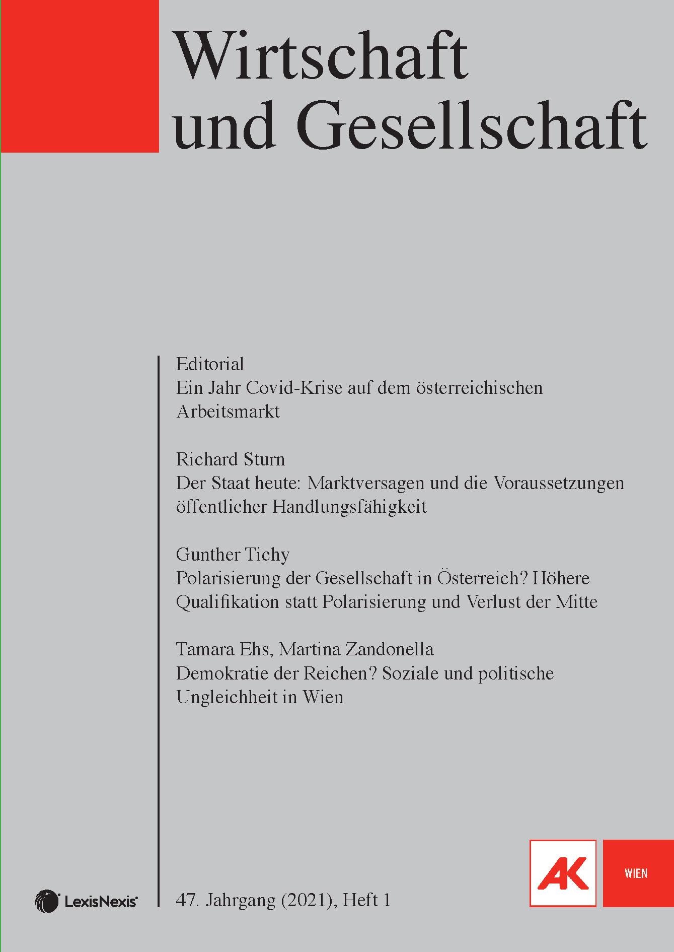 Titelseite der Zeitschrift Wirtschaft und Gesellschaft. Nummer  1, 2021, 47. Jahrgang